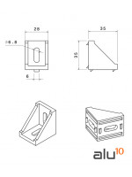 Bracket 35x35x28 dimensions