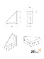 Staffa alluminio 58x58x28 Dimensioni