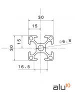 Perfil Aluminio Ranurado 3030 dimensiones