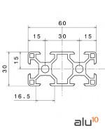 Perfil Aluminio Ranurado 3060 - Dimensiones