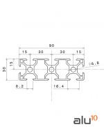 Perfil Aluminio Ranurado 3090 - dimensiones