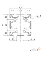 Aluminum Slot Profile 6060 - Dimensions
