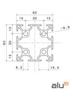 Perfil Aluminio Ranurado 6060 - Dimensiones