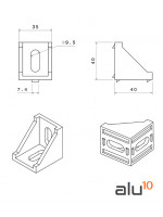 Bracket 40x40x35 - Series 40 and 80 Dimensions