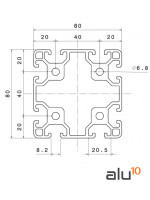 Perfil Aluminio Ranurado 80 80 Dimensiones