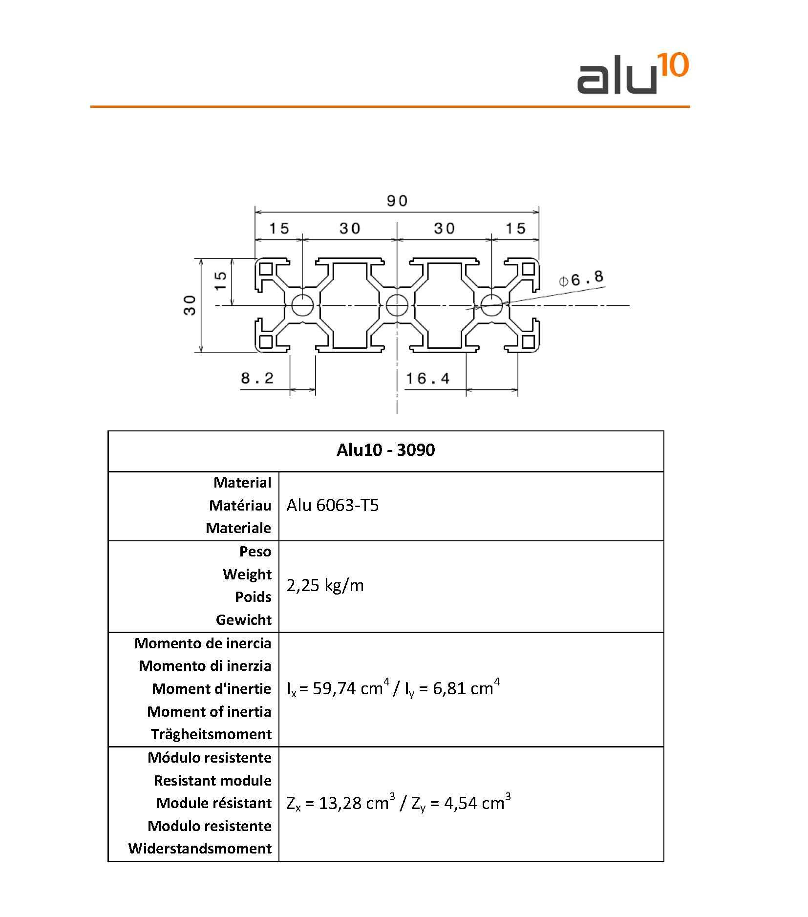 Aluminium Slot Profile 3090