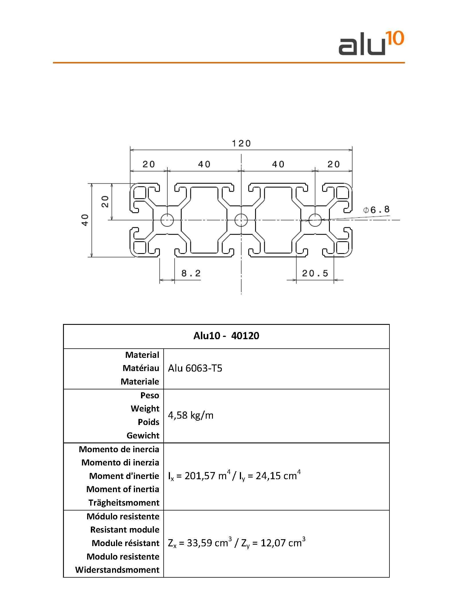 Aluminum slot profile 40120 - CNC