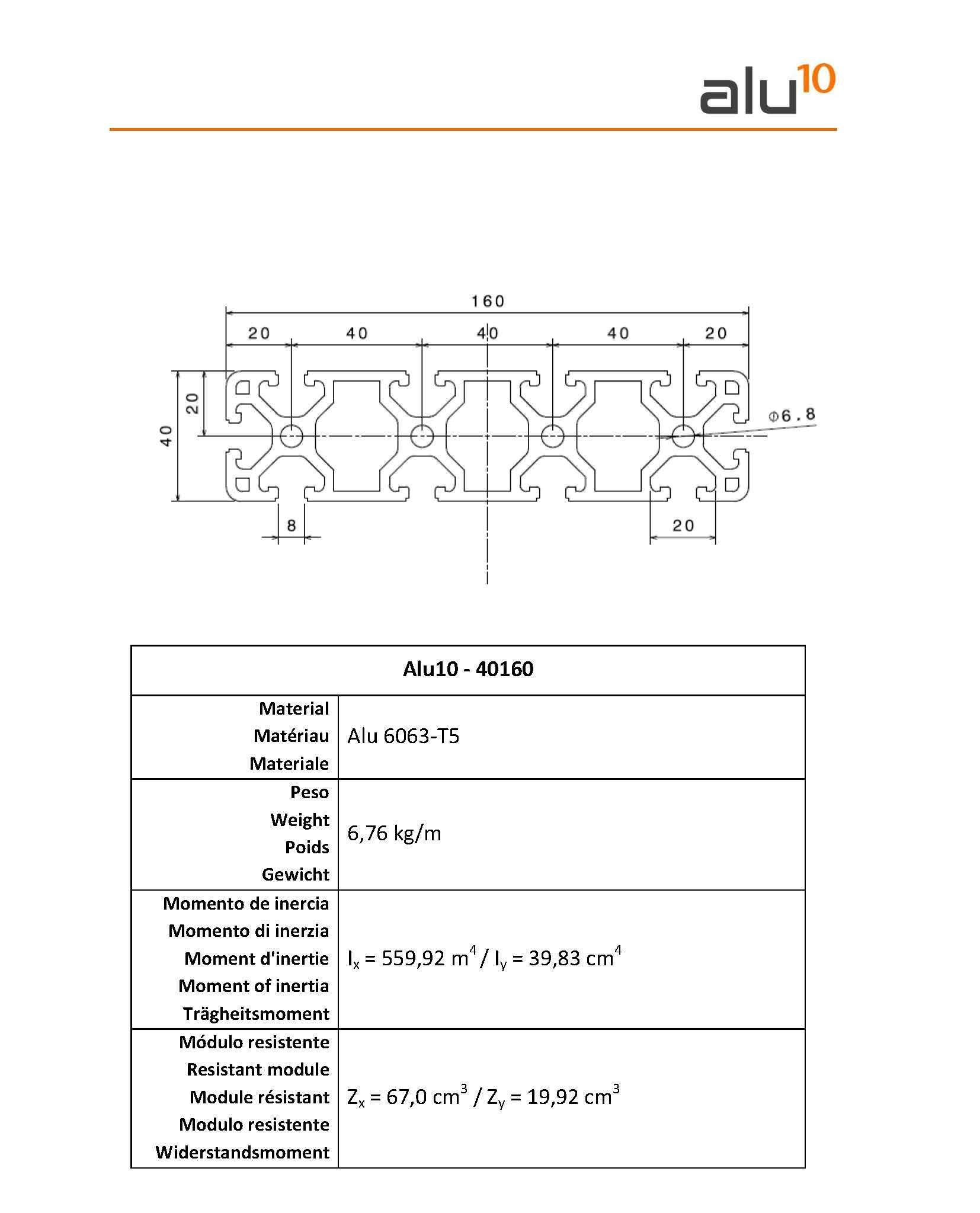 Aluminium Slot Profile 40160 CNC
