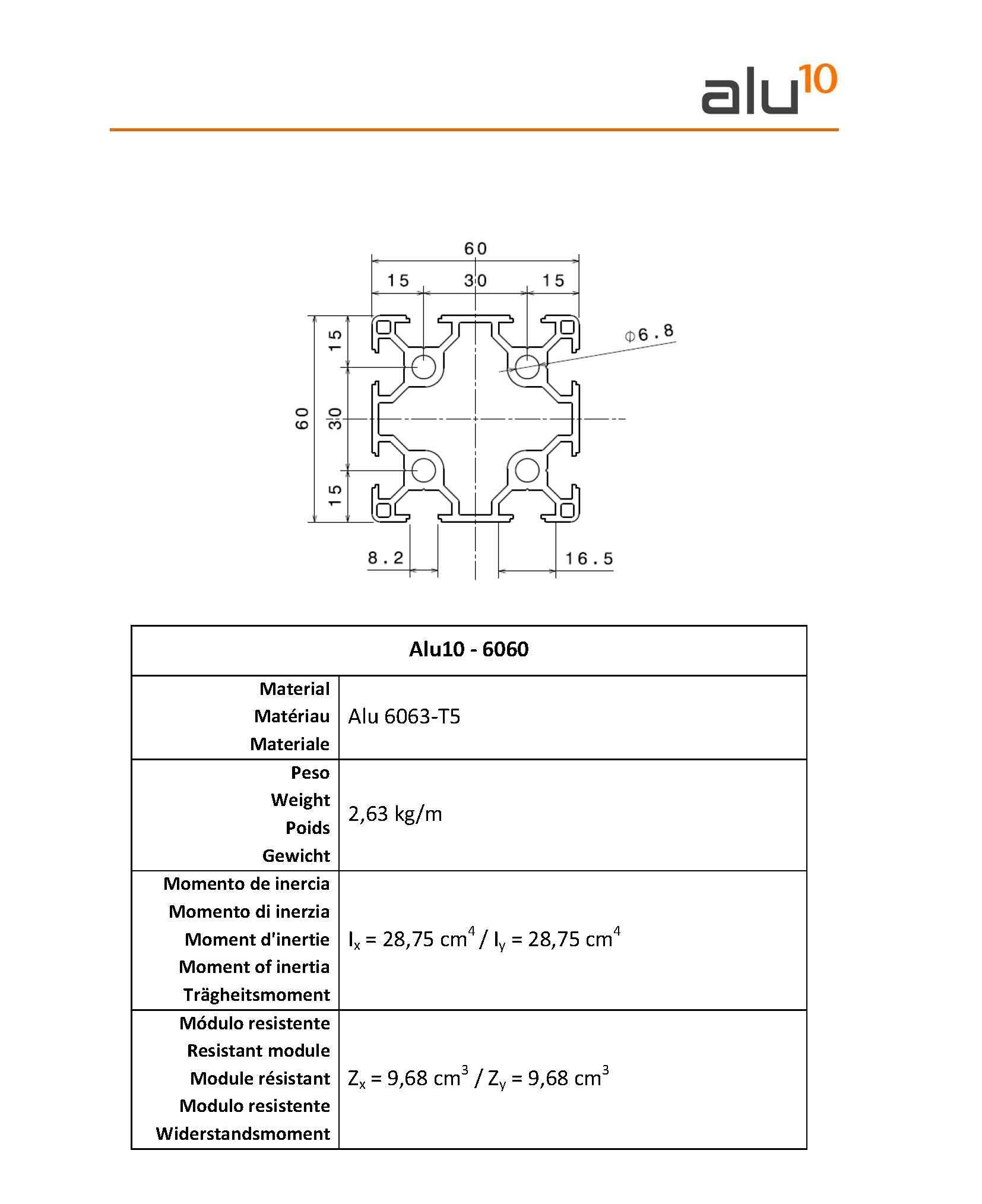Profilo alluminio 6060