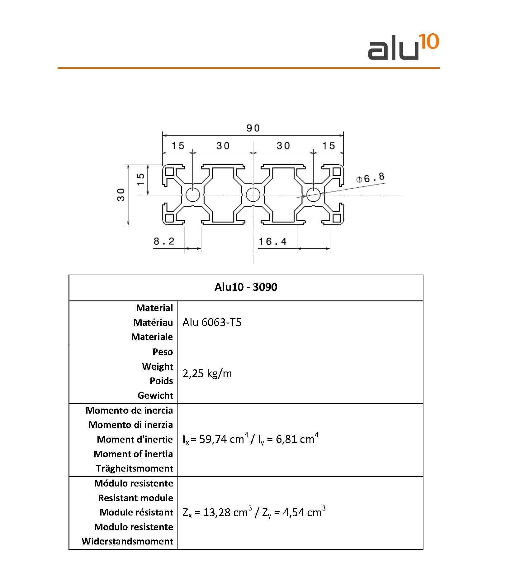 Profilo alluminio 30x90